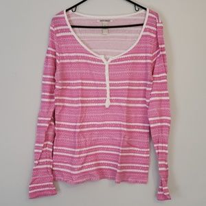 Lucky Brand Pink and White Thermal Top Size XL